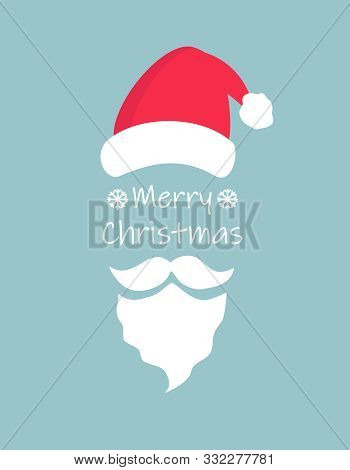 Merry Christmas Typography Greeting Card With Christmas Hat And Santa Claus White Beard And Moustach