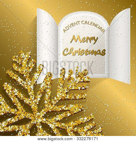 Christmas Advent Calendar Doors Open, Big Golden Snowflake And Golden Letters On A Golden Background