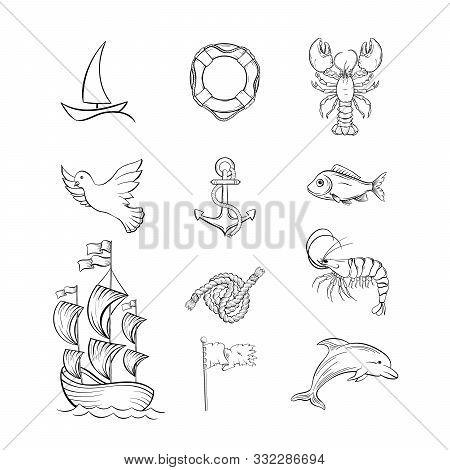 Ocean Themed Hand Drawn Illustrations Set. Sea Fauna And Sailing Attributes Thin Line Symbols Pack.