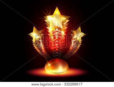 Hollywood  Movie Party Gold Star Award Statue Prize Giving Ceremony. Golden Stars Prize Concept, Sil
