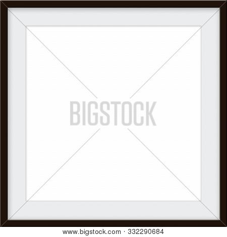 Dark Wood Blank Picture Frame Mockup With An Ecru Colored Matt With Room For Custom Picture Or Text