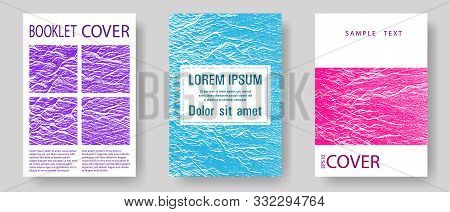 Annual Report Covers Design Set. Teal Pink Purple Waves Texture Backdrops. Vector Templates For Corp