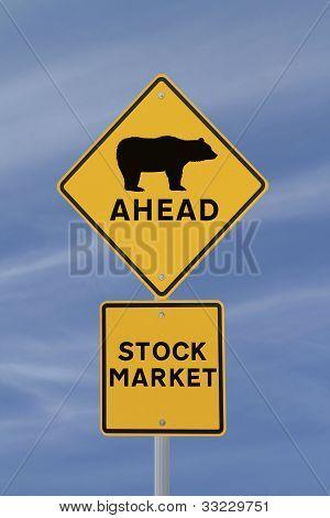 "Road sign indicating a ""bearish"" market ahead poster"
