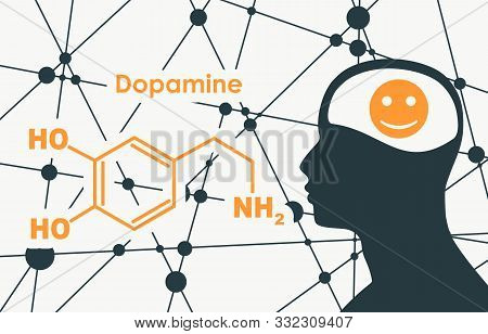 Chemical Molecular Formula Hormone Dopamine. Silhouette Of A Man Head. Connected Lines With Dots Bac