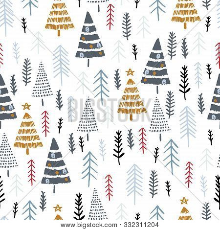 Winter Seamless Pattern With Christmas Trees, Spruce Woods On White Background. Surface Design For T
