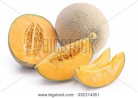 Beautiful Tasty Sliced Juicy Cantaloupe Melon, Muskmelon, Rock Melon Isolated On White Background, C
