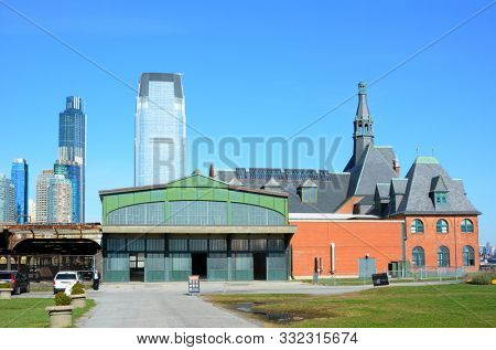 JERSEY CITY, NEW JERSEY - 04 NOV 2019: The historic Central Railroad of New Jersey Terminal, at Liberty State Park, now houses the ticket windows for the Statue of Liberty and Ellis Island ferry.