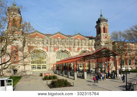 NEW YORK, NY - 04 NOV 2019: Entrance to the Main Building at Ellis Island National Museum of Immigration.