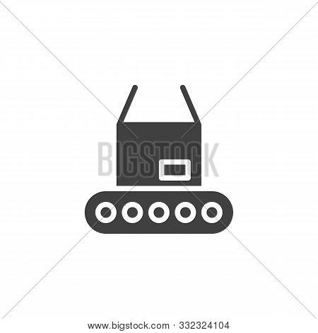 Packing Conveyor Belt Vector Icon. Filled Flat Sign For Mobile Concept And Web Design. Conveyor Belt