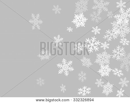 Winter Snowflakes Border Cool Vector Background.  Macro Snowflakes Flying Border Illustration, Holid