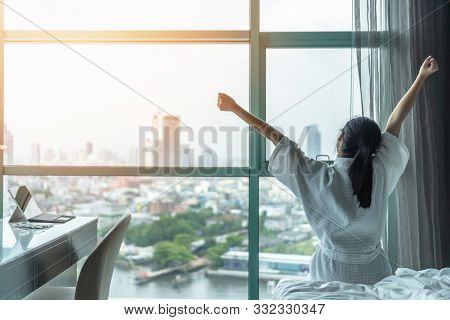 Work-life Quality Balance Concept With Happy City Lifestyle Asian Girl Having A Good Day Waking Up F