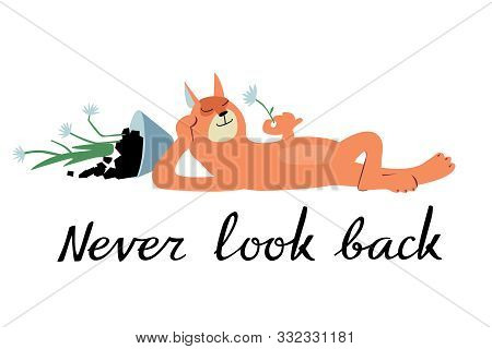 Cute Cat Dropped A Houseplant And Is Pleased. Phrase Never Look Back. Ironic Vector Graphics
