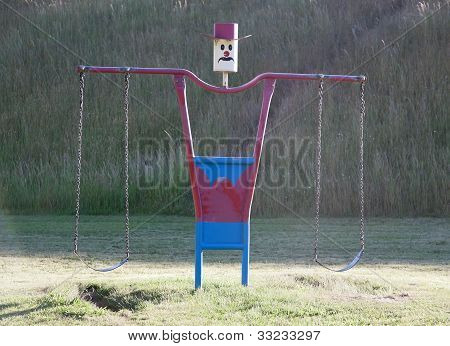 Swing Set In Playground Near Oberon. Nsw. Australia