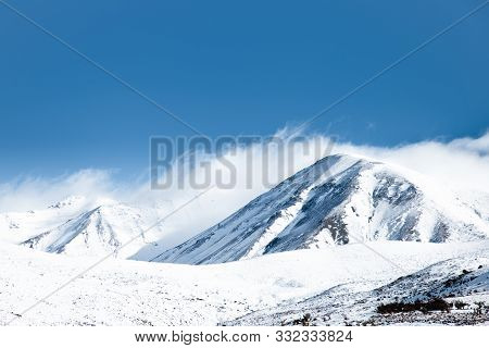 Snowy Mountain Peaks, Large High Altitude Mountains With Blue Sky Background, New Zealand Landscape,
