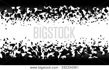 Background Explosion With Debris. Isolated Black Illustration