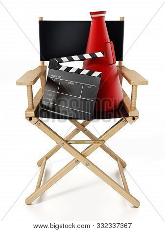 Clapboard And Director's Megaphone Standing On Director's Chair. 3D Illustration