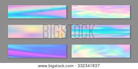 Holography Cute Flyer Horizontal Fluid Gradient Princess Backgrounds Vector Set. Opalescence Hologra