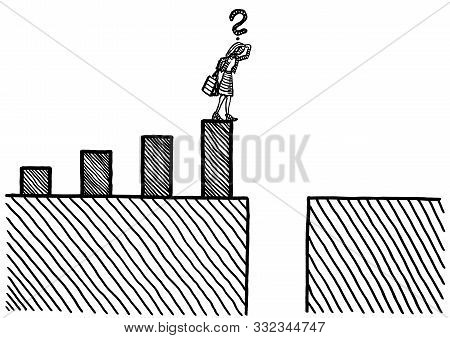 Freehand Drawing Of Business Woman At Hight Of Growth In Bar Chart Pondering Bottomless Financial Cr