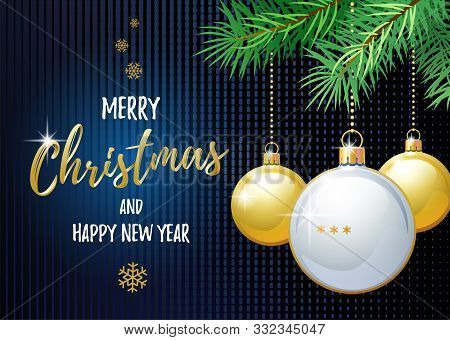 Merry Christmas And Happy New Year. Sports Greeting Card. Ping Pong Ball As A Christmas Ball. Vector