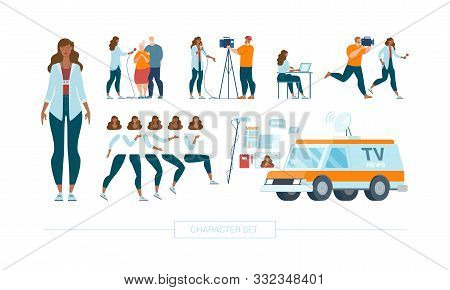 Female Journalist Character Constructor Isolated, Trendy Flat Design Elements Set. Television Report