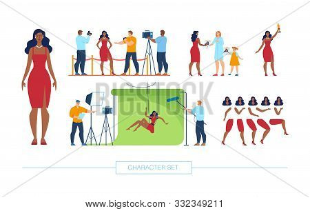 African-american Movie Actress Character Constructor Trendy Flat Elements. Famous Female Celebrity O