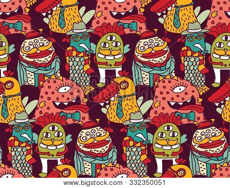 Group Fashion Aliens Different Freaks Seamless Pattern