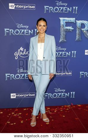 Jordana Brewster at the World premiere of Disney's 'Frozen 2' held at the Dolby Theatre in Hollywood, USA on November 7, 2019.