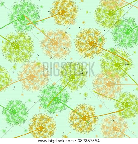 Abstract Blue Background With Colored Dandelions. Texture Of Flying Dandelions And Small Seeds. Spri