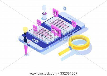 Programming Software Or App Development Isometric Concept, Big Data Processing. Vector Illustration