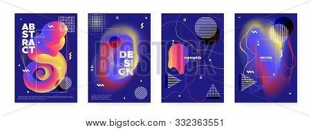 poster of Flow Memphis Brochure. Modern Abstract Banner. Blue Liquid Shape. Futuristic Bauhaus Composition. Fluid Memphis Brochure. Graphic Hipster Cover. Yellow Music Design. Flow Memphis Gradient.