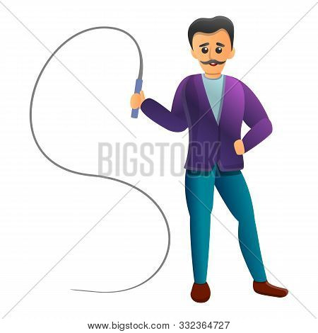 Trainer With Whip Icon. Cartoon Of Trainer With Whip Vector Icon For Web Design Isolated On White Ba