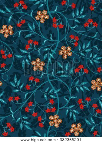 Vintage Floral Seamless Pattern On Dark Background. Vivid Colors. Middle Ages Style. Vector Illustra