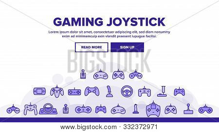 Gaming Joystick Vector Thin Line Icons Set. Gaming Joystick, Computer Games Accessories Linear Picto