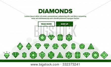 Diamonds, Gems Vector Thin Line Icons Set. Diamonds, Gems Cutting Types Linear Pictograms. Precious