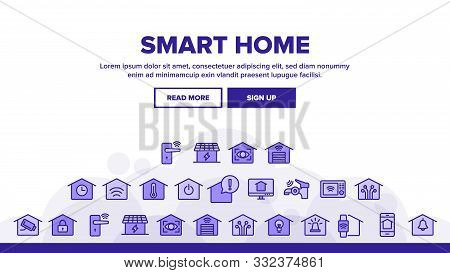 Collection Smart Home Thin Line Icons Set Vector. Control, Camera, Light Settings And Humidity Smart
