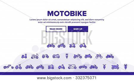Collection Motorbike Thin Line Icons Set Vector. Scooter And Motor Bicycle, Speed Bike And Chopper M