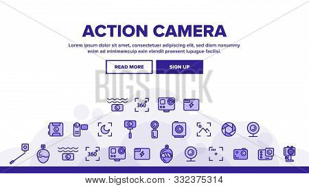 Collection Action Camera Sign Icons Set Vector Thin Line. Types Of Camera Linear Pictograms. Device