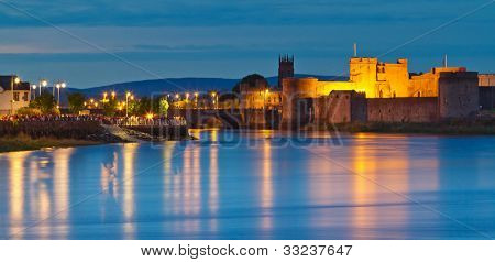 King John castle at dusk in Limerick city, Ireland