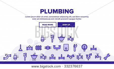 Collection Plumbing Fixtures Vector Icons Set Thin Line. Faucet And Mixer, Valve And Sink, Pipe Tube And Tools Plumbing Fixtures Concept Linear Pictograms. Monochrome Contour Illustrations poster