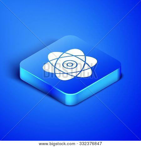 Isometric Atom Icon Isolated On Blue Background. Symbol Of Science, Education, Nuclear Physics, Scie