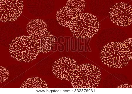 Hand Drawn Golden Chrysanthemums In Oriental Style On Red Background. Vector Illustration. Design Co