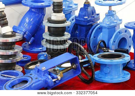 The Valve With A Rubber Wedge Is Presented In A Section. Blue Cast Iron Gate Valve For Industrial Pi