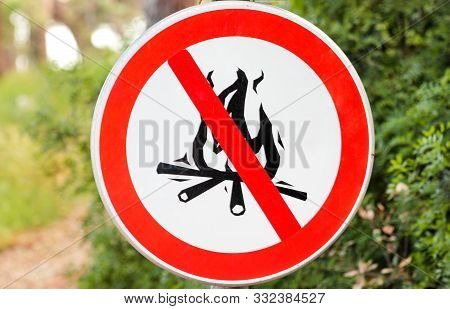 Sign Or Symbol No Campfire, Do Not Light A Fire. No Campfires Sign, In Nature By Sea. No Open Flame