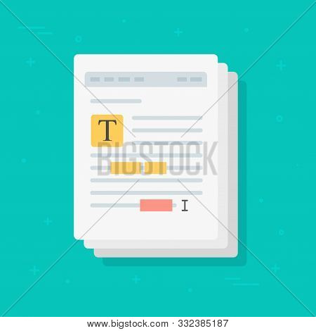 Text File Or Document Content Editing Vector Icon, Flat Cartoon Creating Or Writing Electronic Docum