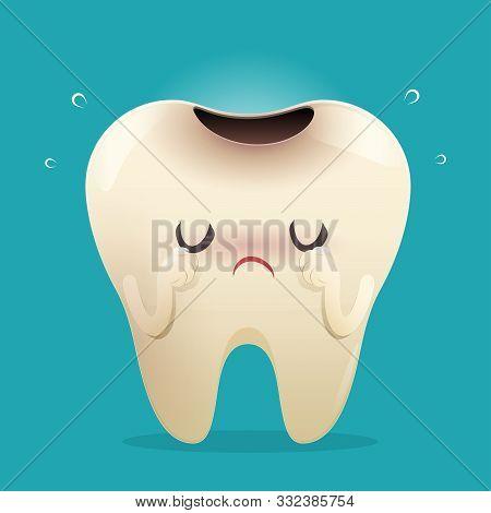 Illustration Tooth Feel Bad. Dental Caries, Toothache, Bad Teeth, Limestone, Swollen Gums. Diseased