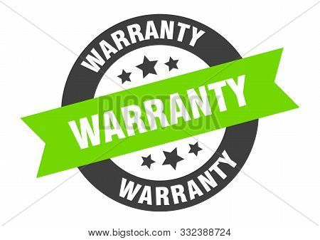 Warranty Sign. Warranty Black-green Round Ribbon Sticker