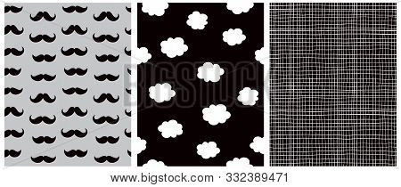 Baby Shower Party Seamless Vector Patterns. White Clouds On A Night Sky. White Tiny Grid On A  Black