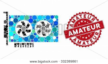 Mosaic Dual Gpu Videocard And Rubber Stamp Seal With Amateur Text. Mosaic Vector Is Formed With Dual
