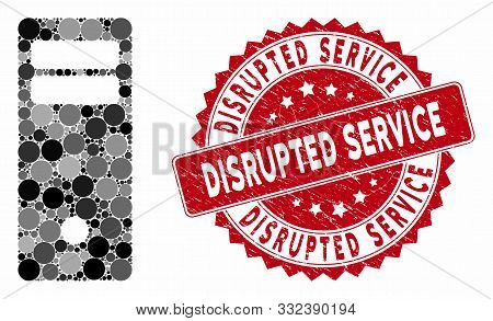 Mosaic Computer Mainframe And Distressed Stamp Watermark With Disrupted Service Caption. Mosaic Vect