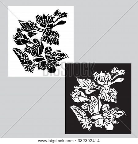 Monochrome Templates With Black And White Blossoming Branch Of Apple Tree Flowers  In Pop Art Style.